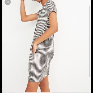 Madewell stripe play button back dress